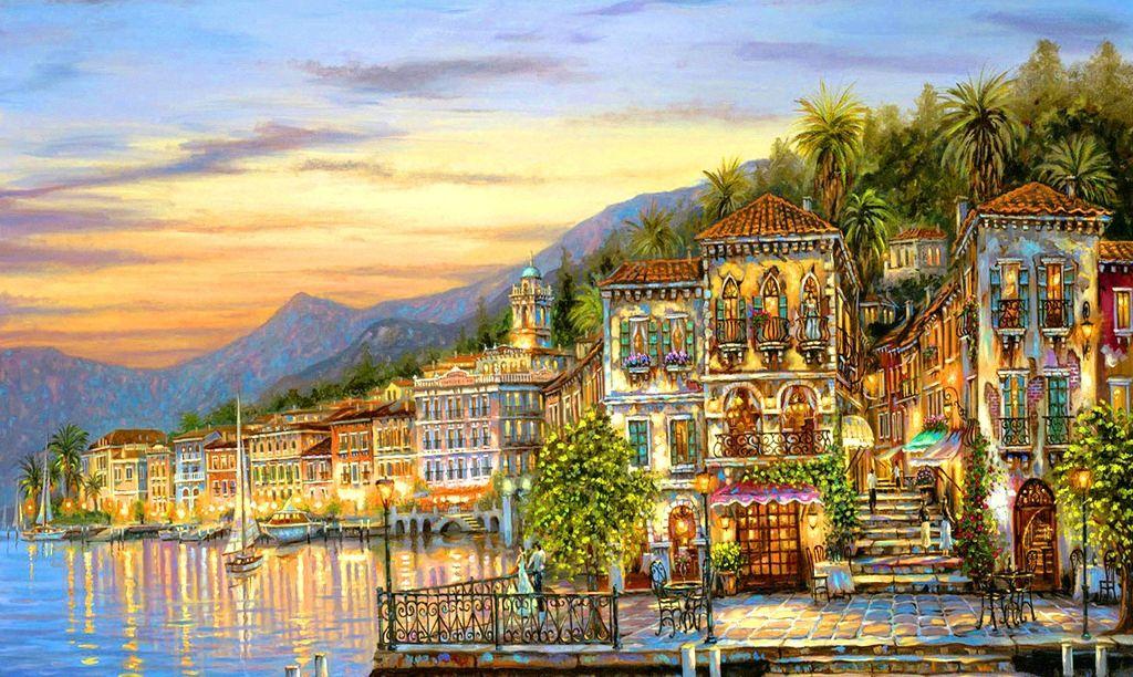 房屋风景油画图片,装饰画 壁画 插画 油画专辑-图行