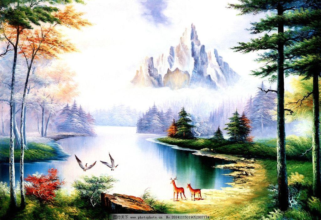 高山树木风景油画图片