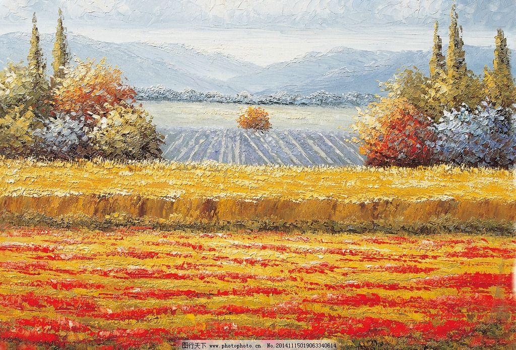 花地 风景 油画 装饰画 壁画 插画 油画专辑 设计 文化艺术 绘画书法