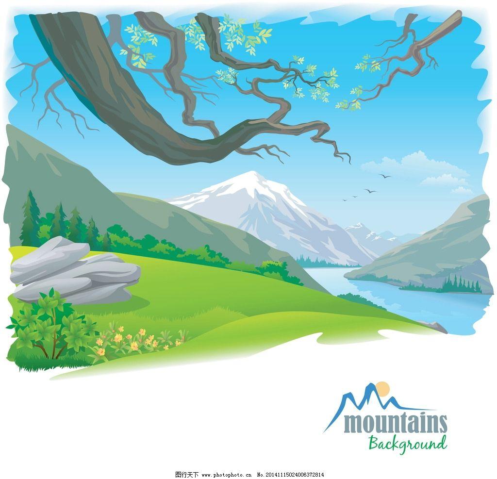 手绘自然风光图片