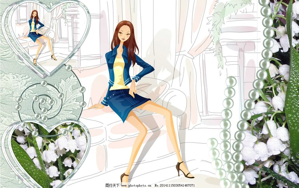 时尚女孩 手绘时尚女孩 女性 女人 美女 少女 女性时尚 手绘女孩