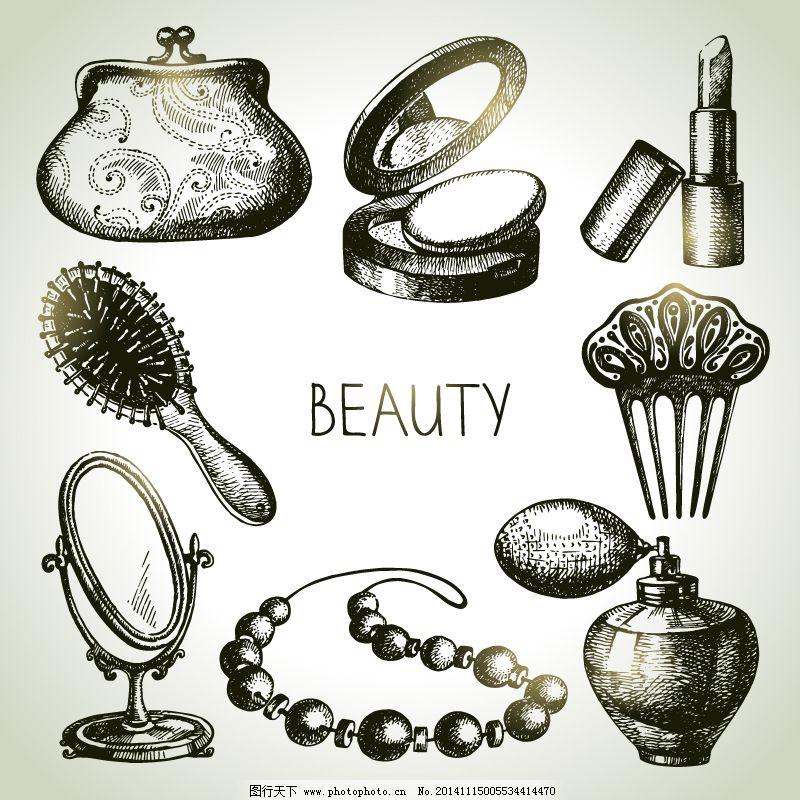 镜子 配饰 钱包 矢量图 手绘 梳子 香水 珍珠项链 钱包 粉饼盒 唇膏