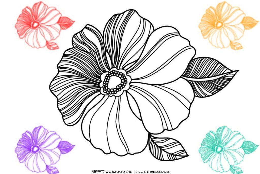 矢量花朵 矢量图案 矢量花 线条花 线条矢量花 设计 生物世界 花草 ai