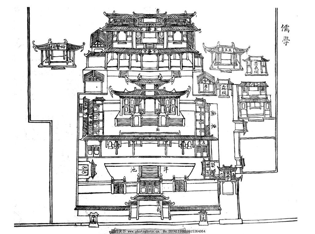 永安 儒学 平面图 旧图 民国前 手绘图 设计 文化艺术 传统文化 72dpi