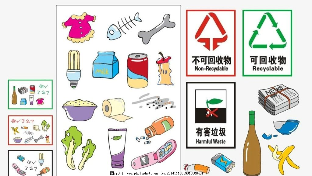 厨余垃圾有哪些物品_不可回收垃圾的卡通图片展示_不可回收垃圾的卡通相关图片下载