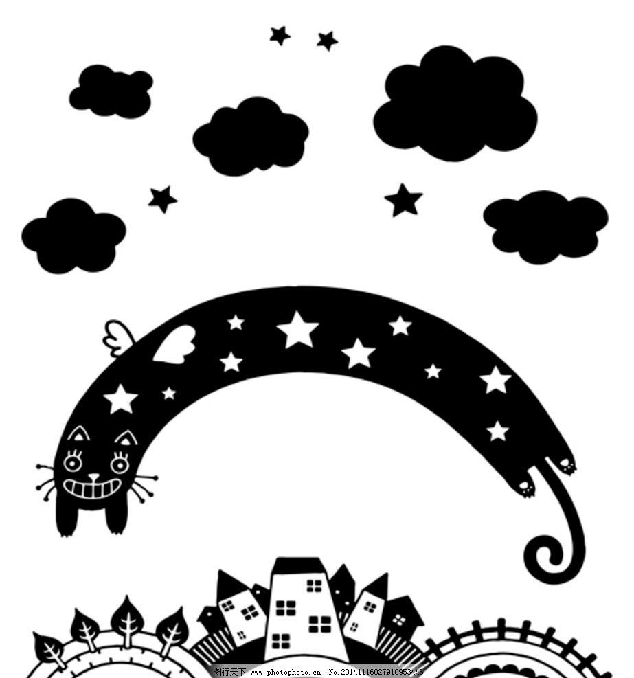儿童房卡通图案图片