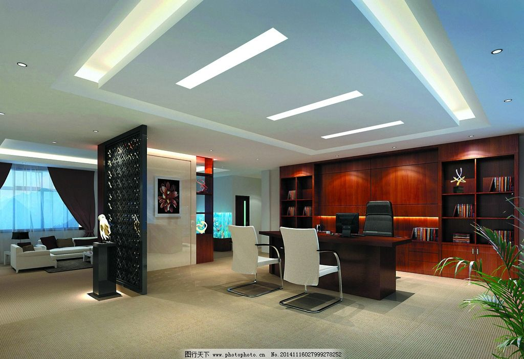 装修效果图 办公室设计 办公室布置 办公室装修 沙发 大桌子 灯具