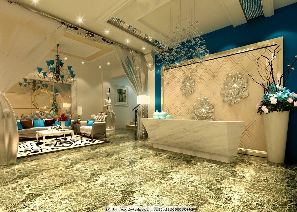 西餐餐厅大堂 简约时尚 现代 蓝色 白色 设计 环境设计        72dpi