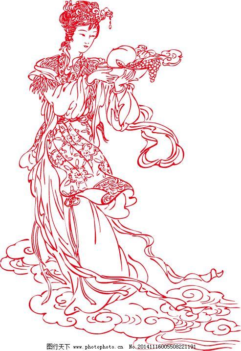 简画笔古典美女免费下载 仙女 仙人 仙女 古典少女 腾云 仙人 矢量图图片
