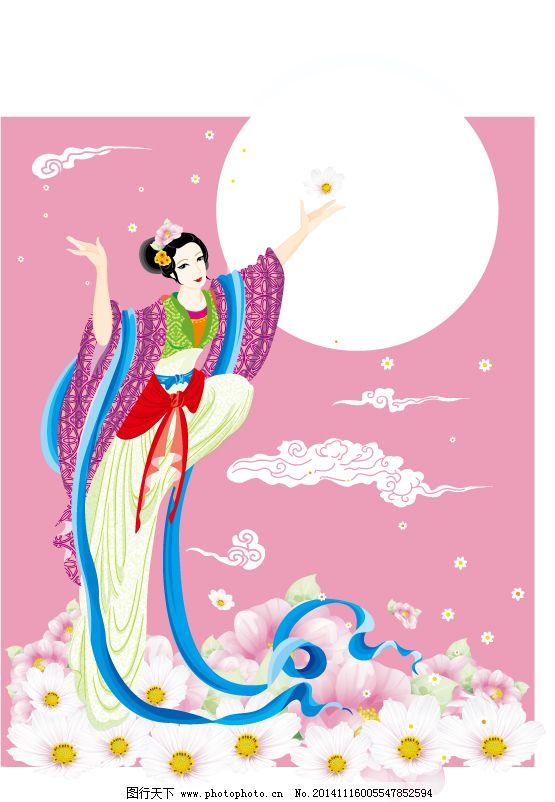 仙女下凡免费下载 古典美女 飘带 鲜花 月亮 古典美女 飘带 仙云 腾云图片