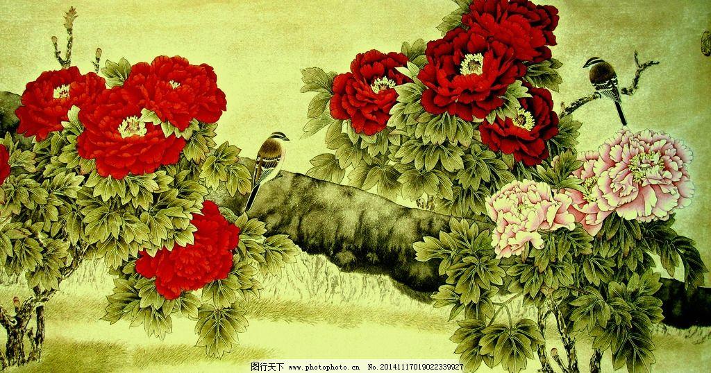 工笔画 牡丹 小鸟 牡丹图 牡丹花 书画 花鸟画 名家牡丹画 手绘牡丹