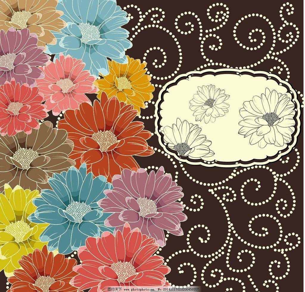 蝴蝶 绿叶 手绘花朵 手绘鲜花 花卉插画 图案设计2 设计 底纹边框