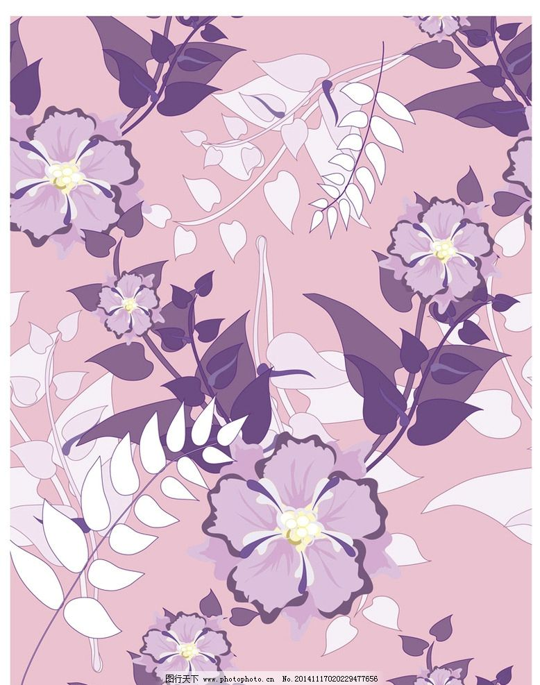 绿叶 手绘花朵 手绘鲜花 花卉插画 图案设计2 设计 底纹边框 背景底纹