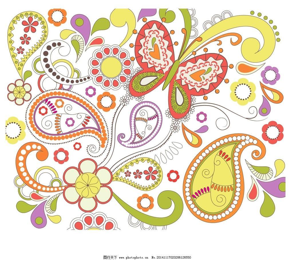 蝴蝶 布纹 花布 鲜花布纹 手绘鲜花 布纹图案 布料 墙纸 纹理 贴图
