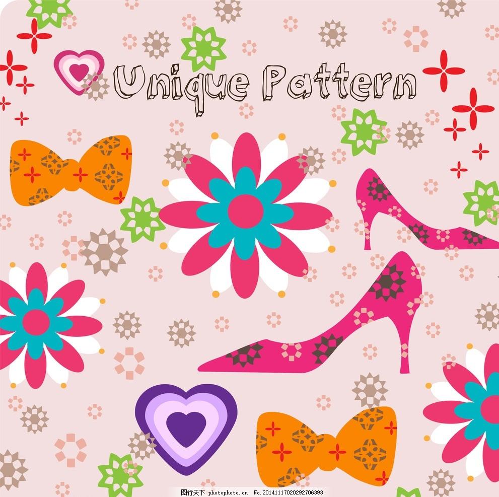 高跟鞋蝴蝶结背景 高跟鞋 蝴蝶结 花朵 花纹 爱心 可爱卡通背景 时尚