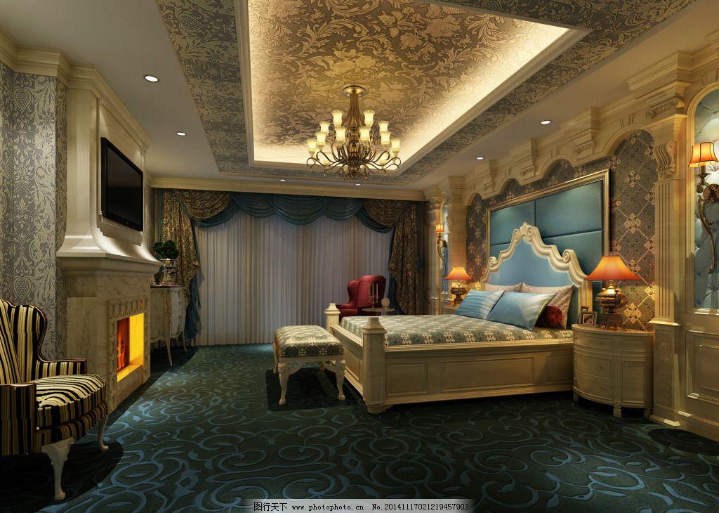 豪华欧式卧室_室内模型