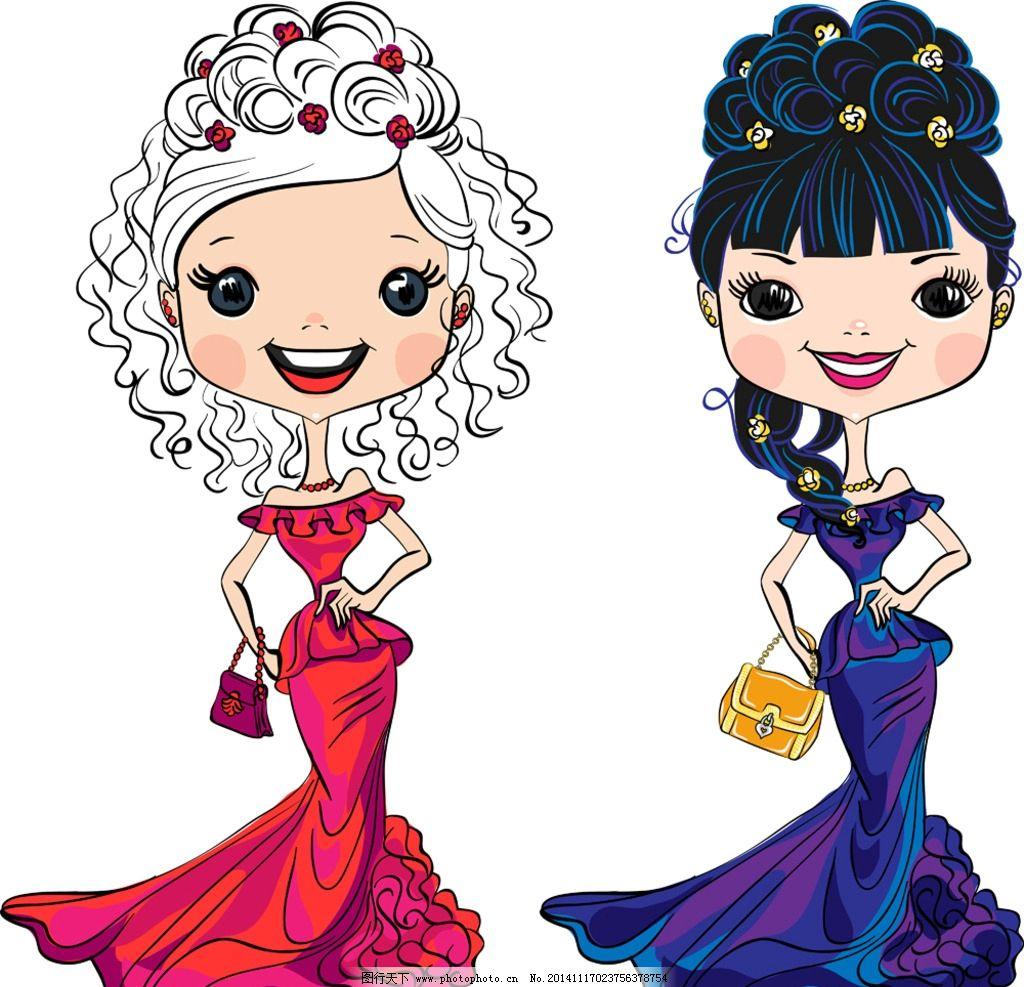 新娘 卡通少女 手绘少女 婚纱 婚礼 婚庆 新人 女孩 卡通形像设计
