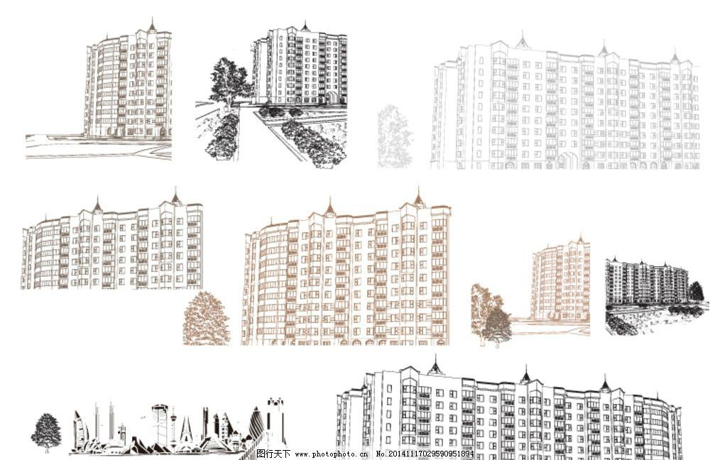 线描建筑 楼房 房地产 手绘楼房 线描环境建筑 环境线描
