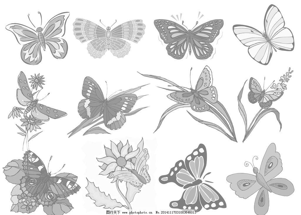 简笔画 蝴蝶 花丛 图案 花纹 设计 广告设计 其他 72dpi psd