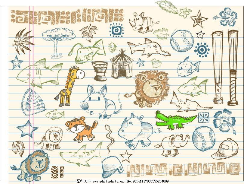 小动物手绘矢量