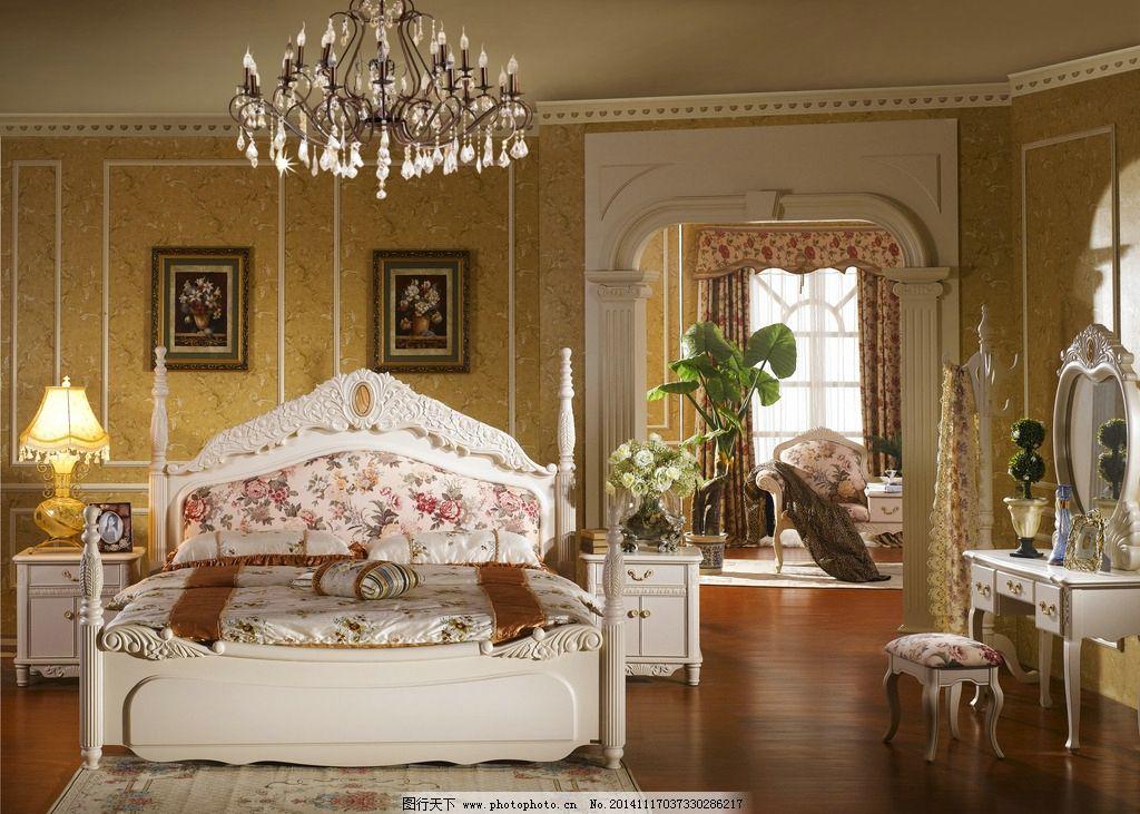 卧室装修 欧式卧室 温馨卧室 卧室家具 家居室内 主卧室 中式卧室 床