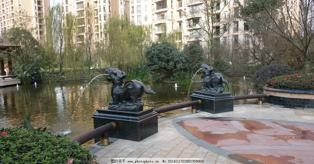 住宅景观 水景设计 水景雕塑 欧式景观 喷泉 亲水平台 摄影 建筑园林