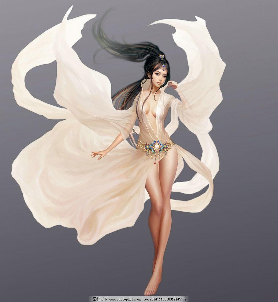 原画 游戏人物 玄幻 武侠 cg 动漫人物 免抠素材 分层素材 美女 白衣