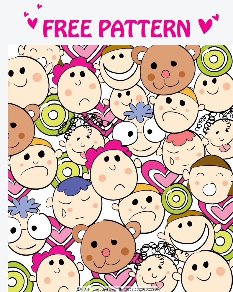 儿童表情背景 儿童表情 哭脸 笑脸 小熊 可爱卡通背景 时尚花纹 碎花