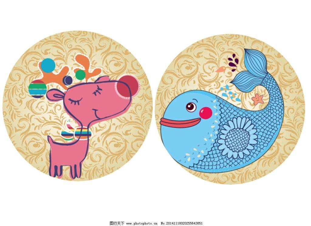 小鹿 鱼 金色底子 圆形kt板 可爱的动物  设计 底纹边框 背景底纹