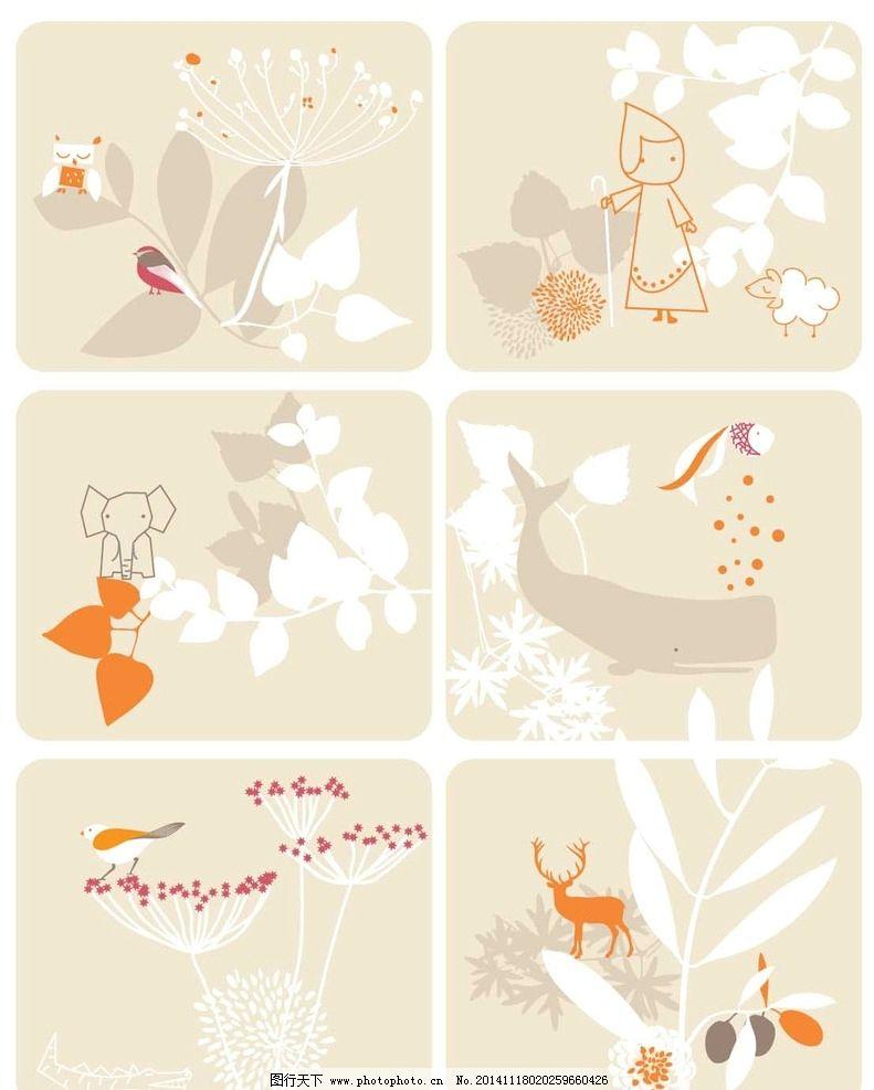 卡通背景 插画 底纹背景 贴纸 春天 桌贴 墙贴 卡通植物 卡通动物