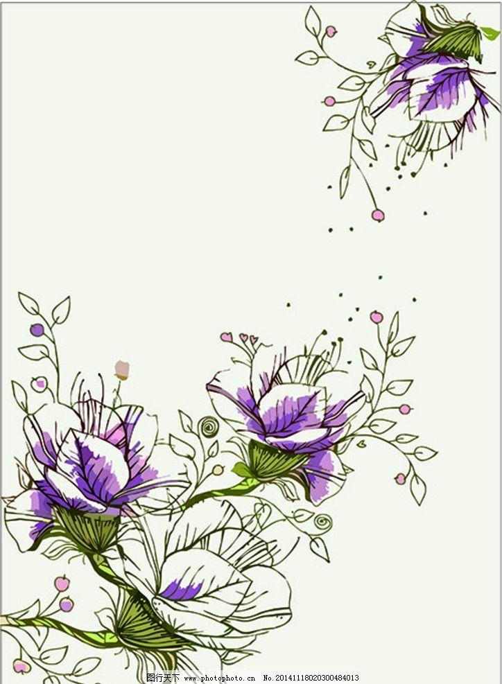 手绘线条花图片