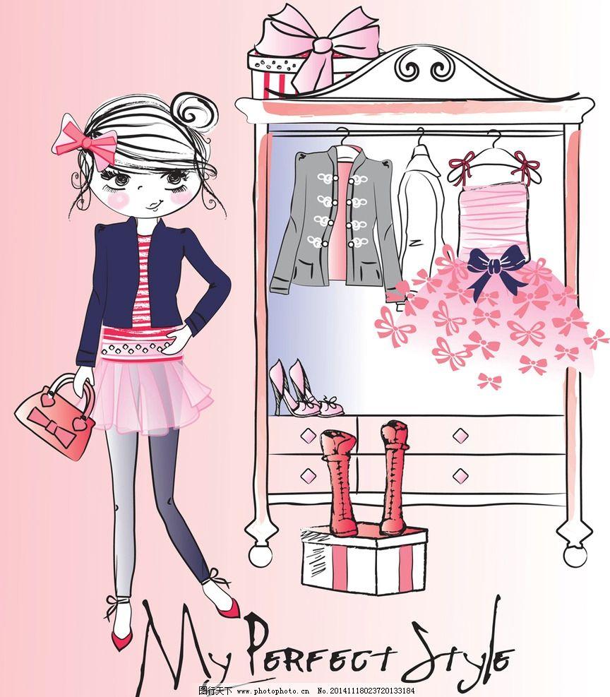 手绘卡通少女 手绘美少女 小女孩 服装 裙子 女人 时尚美女 卡通美女