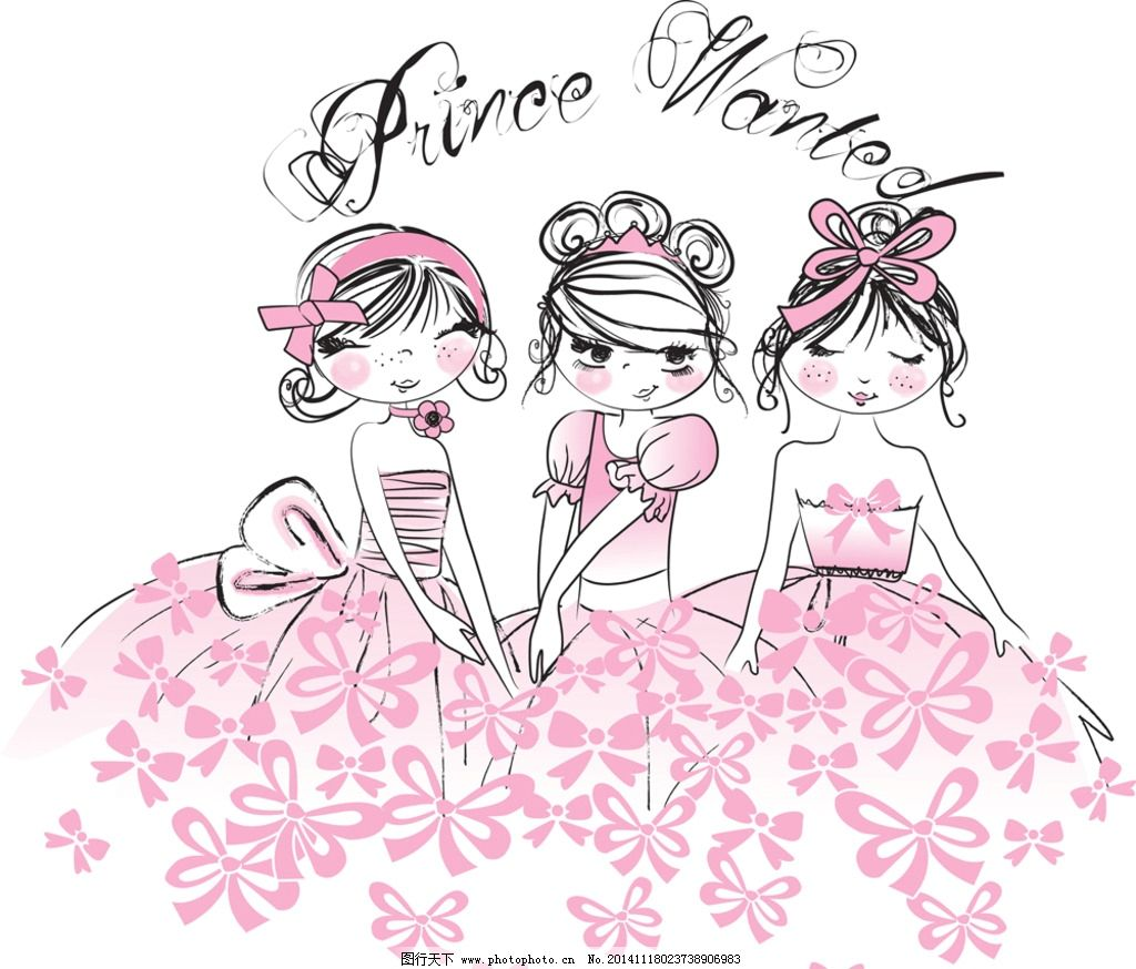 手绘卡通少女 手绘美少女 小女孩 女人 时尚美女 卡通美女 美丽