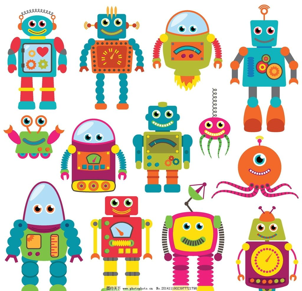 机器人 现代科技 创意 手绘 卡通动漫 卡通机器人 科技时代 设计 人物