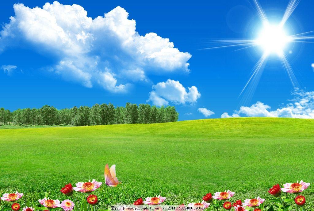 蓝天草地风景 花卉 太阳 白云 风景专辑