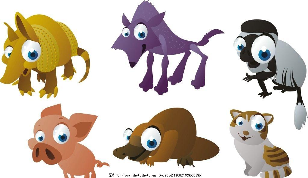 手绘 装饰素材 可爱卡通动物 卡通动物 矢量动物 动物素材 猪 卡通猪