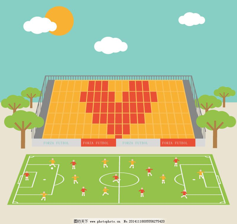 卡通足球场插画