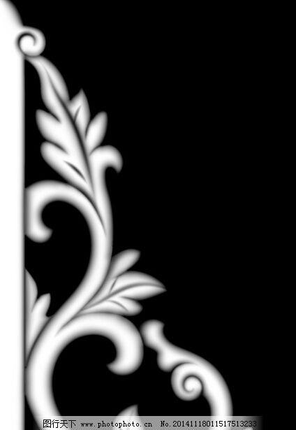 中式大角花灰度图图片