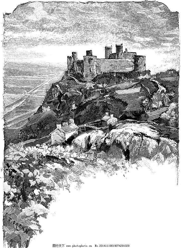 城堡 欧式建筑 建筑插画 素描 房子 房子素描