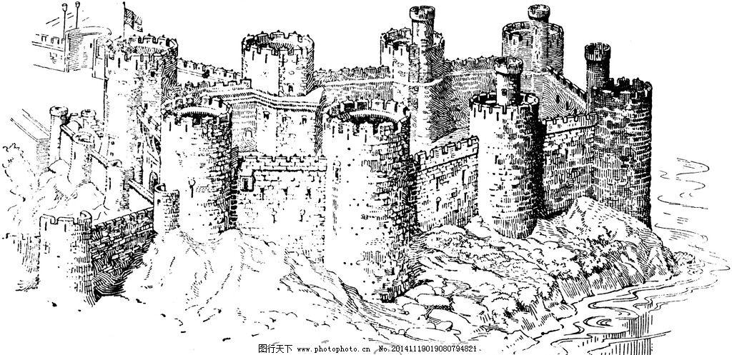 城堡 欧式建筑 建筑插画 素描 房子 房子素描 设计 文化艺术 绘画书法