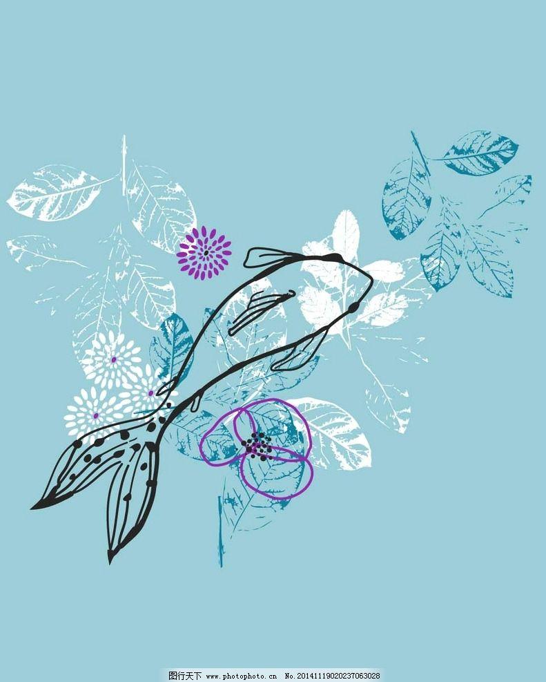 可爱的卡通花型 数码印花 手绘 面料花型 卡通数码印花 可爱花型