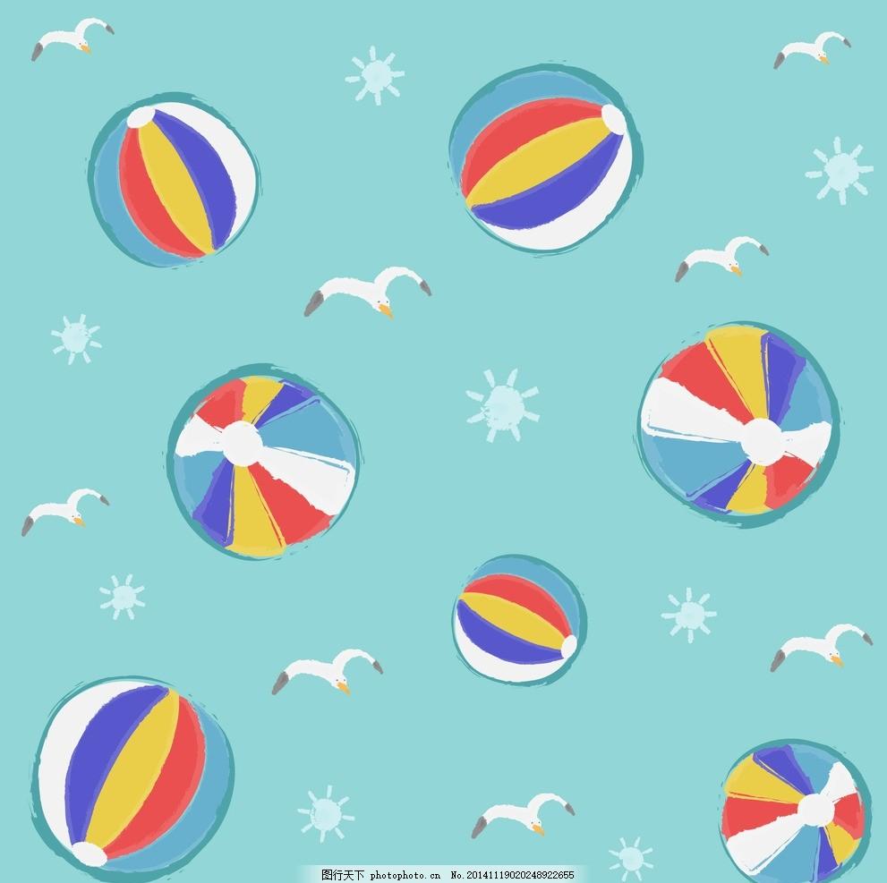 卡通海鸥皮球背景 海欧 可爱卡通背景 时尚花纹 碎花 插画 背景画