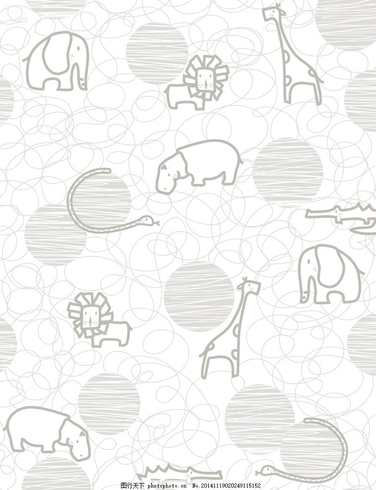 卡通动物矢量背景 卡通动物背景 大象 河马 狮子 长颈鹿 蛇 鳄鱼 可爱