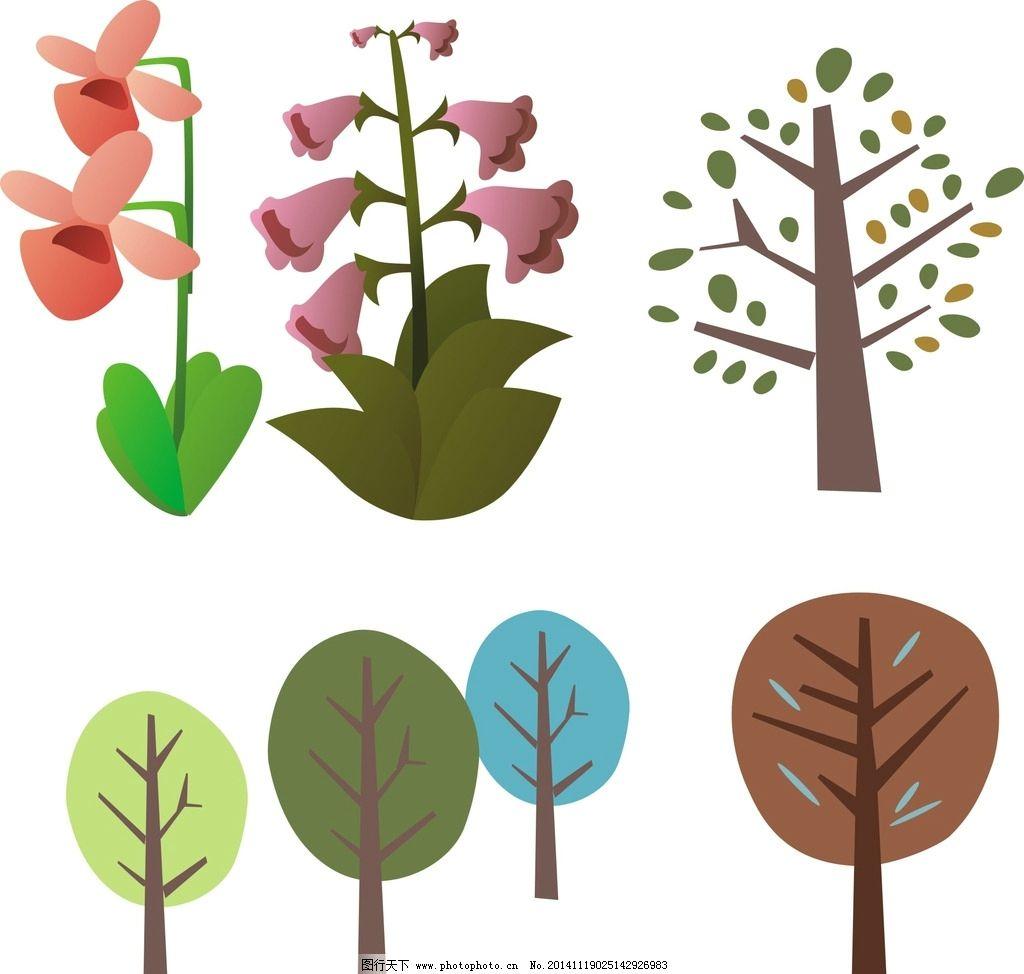 矢量花草树木图片