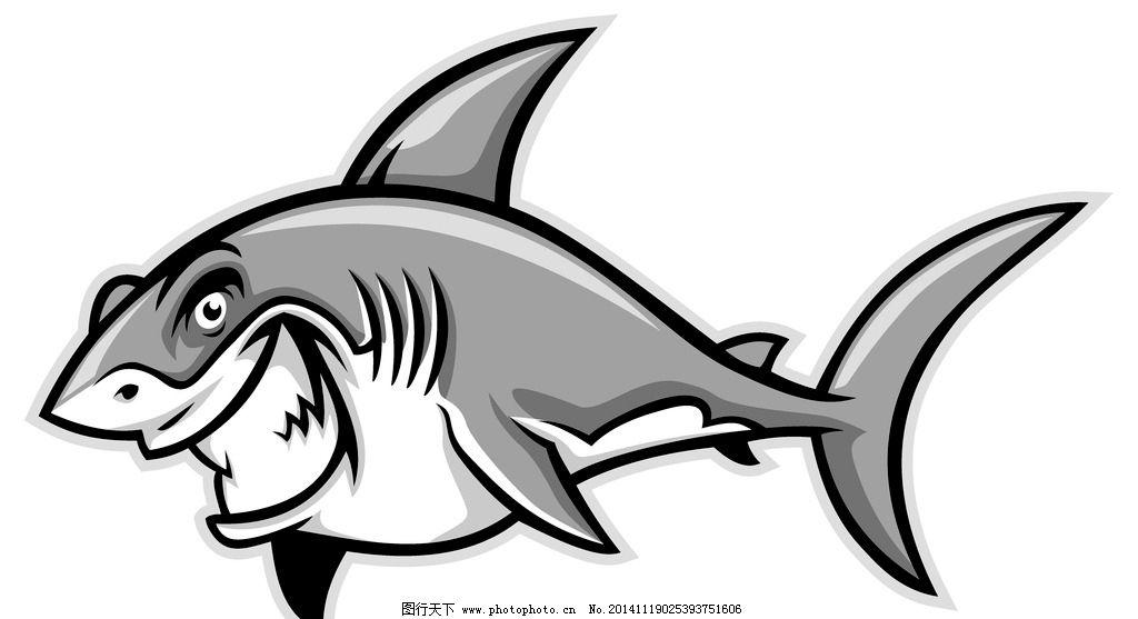 鲨鱼 卡通鲨鱼 手绘 矢量 鱼类 哺乳动物