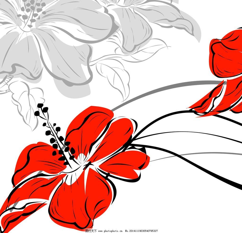 红花插画图片_卡通设计
