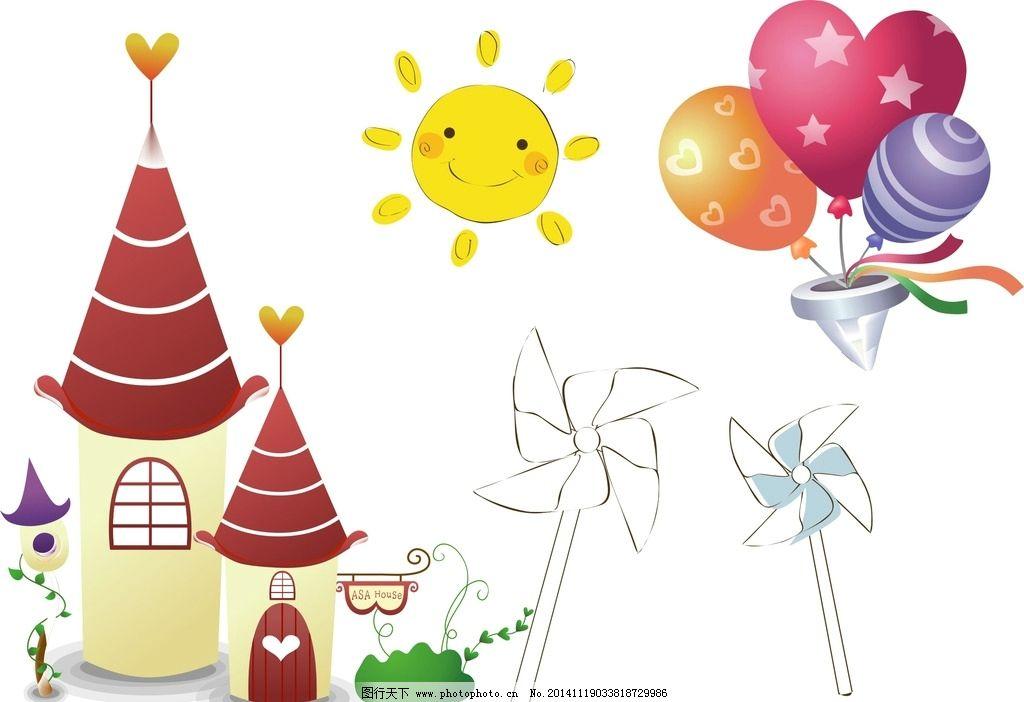 卡通城堡 热气球图片