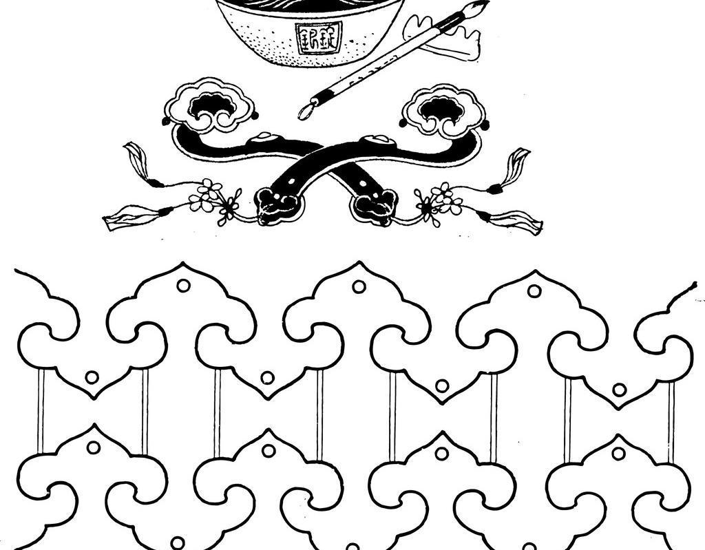 设计 图案素材 图腾 如意 玉如意 元宝 毛笔 矢量线稿 图腾 花纹 祥云