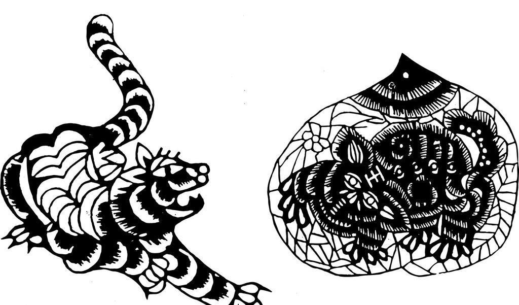 老虎 剪纸 吉祥图腾 窗花 底纹边框 复古图案 古色古香 花纹
