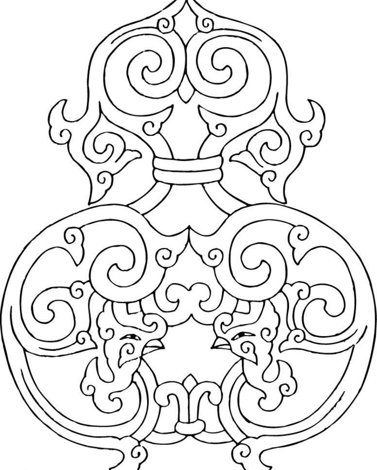 剪影 设计 图案素材 图腾 印花 中国图腾 矢量线稿 图腾 花纹 吉祥